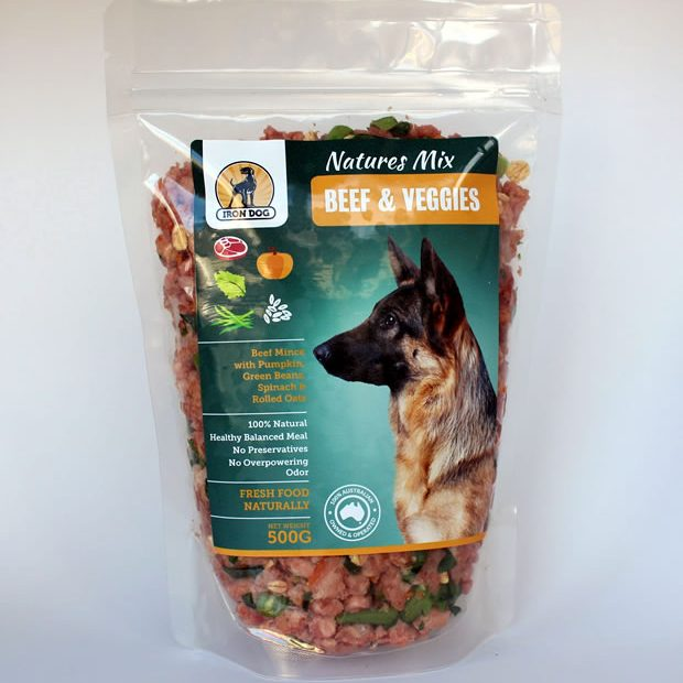 Fresh beef mince mixed with raw vegetables suitable for all dog breeds.